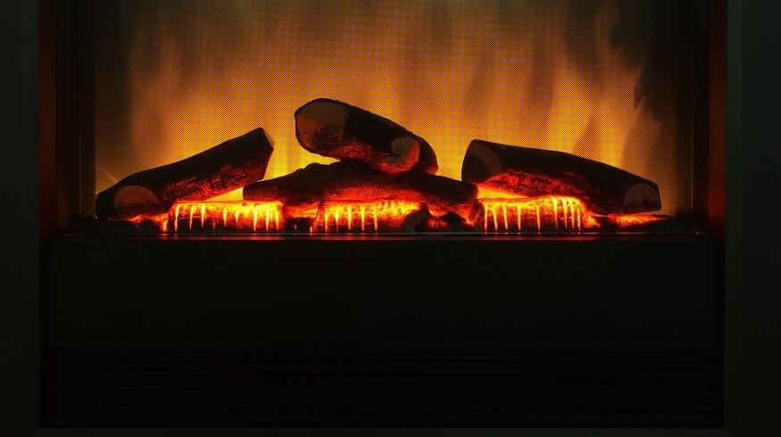 close up picture of an electric fireplace using holographic technology