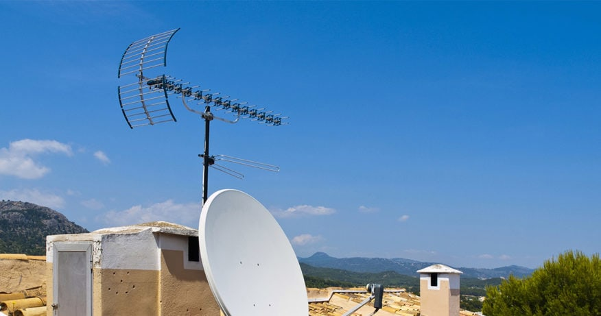 tv antenna on tile roof